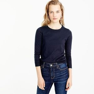 J CREW Cotton Wool Navy Teddy Sweater Size Large